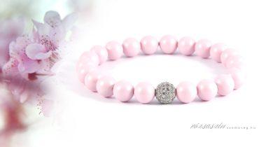 rózsaszín remények swarovski kristály karkötő